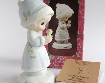 Vintage Precious Moments May Your Christmas Be Merry Figurine 524166, Girl Holding Bird, Dated 1991, Vessel Symbol