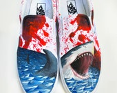 Custom Vans Hand Painted Shoes - Great White Shark Blood Spatter