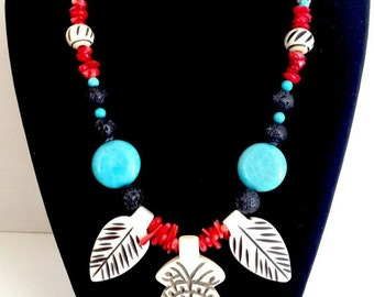 Sale...GlamRox Gorgeous Native Coral, Lava stone, Turquoise, &  Carved Bone Necklace.Perfect Jewelry Gift. Gift for her. ETSY Gift