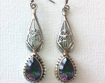 SALE>>> Stunning Mystic Topaz Sterling Silver 925 Art Nouveau Style Earrings. Perfect Jewelry Gift. Gift for her. ETSY Gift. Birthday Gift