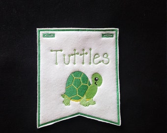Turtle/Tortoise Pennant for Small Animal Pet Cage-PERSONALIZED