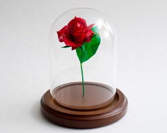 origami red rose small decorative globe eternal rose made to order - Decorative Globe