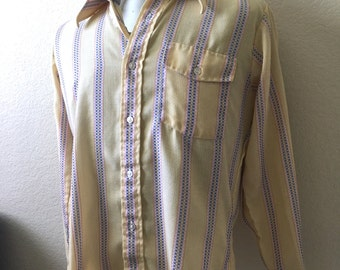 Vintage Men's 70's Yellow Shirt, Checkered, Long Sleeve, Button Down (M)
