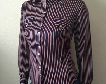 Vintage Women's 70's Striped Blouse, Navy Blue, Red, Polyester, Butterfly Collar (XS)