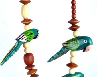 Vintage Wooden Chunky Over-the-top Parrot Bird Wood Bead Necklace