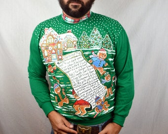 Vintage 80s Ugly Christmas Puffy XMAS Santa GingerBread Winter Scene Snow Glitter Sweatshirt