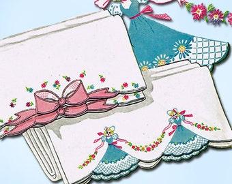 1950s Vintage Vogart Embroidery Transfer 146 Uncut Garden Girl Pillowcases ORIGINAL