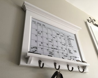 Family Calendar Family Organizer Family Planner Weekly Planner Horizontal White Dry Erase Calendar Organizer with Grooved Shelf and Keyhooks