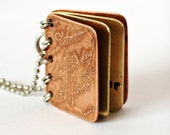 If You Can Read This Thank a Teacher - Metal Book Pendant - Copper, Brass with Etched Cover - Can Be Personalized