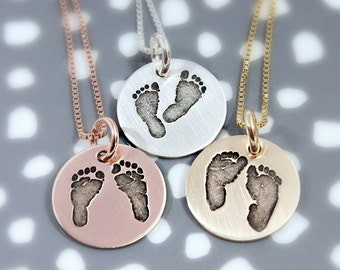 Actual Footprints Necklace - New Mom Footprint Jewelry - Footprints - Remembrance Memorial Necklace - Silver, Rose Gold, Yellow Gold
