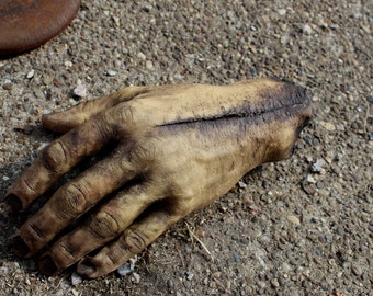 Severed Human Zombie Hand - Dead Male Left - Halloween Gift - horror movie prop - Texas Chainsaw Massacre / Walking Dead inspired - SCAB1057