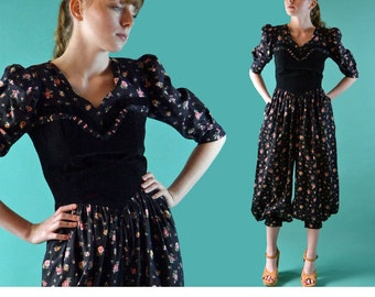 Vintage 80s Womens JUMPSUIT Puff Sleeve Black Floral One Piece Jumpsuit Drop Waist Harem Jeanie Pants Vicky Vaughnn Retro Jump Suit XS / S