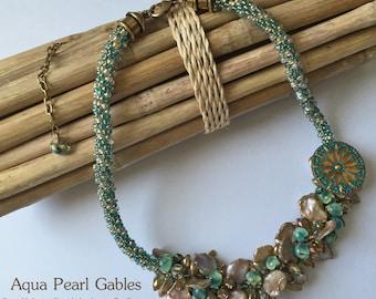 Aqua Pearl Gables a Fully Beaded Kumihimo Necklace