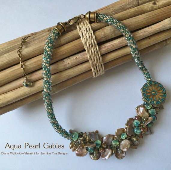 Aqua Pearl Gables a Fully Beaded Kumihimo Necklace