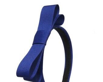 Royal Blue Bow Headband - 3/4 inch Headband Blue w/ Bow, Girl Headband, Adult Headband  - Blair Waldorf Style Simple Bow Headband