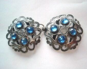 Sash Belt  Buckle Jewelry Silver Tone Blue Glass Stone