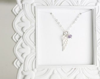 In Loving Memory Necklace - Bereavement Necklace Custom Memorial Necklace - Silver Angel Wing Necklace Remembrance Gift Miscarriage Jewelry