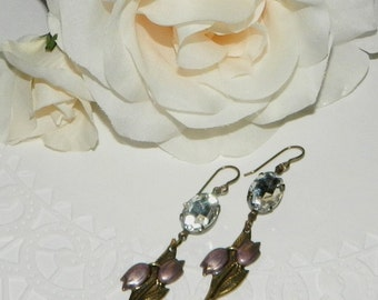 Assemblage,Earrings,Dangle,Tulips,Vintage Rhinestone