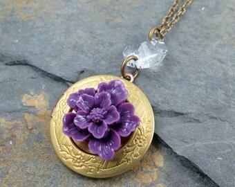 Purple Flower Locket Necklace Locket Pendant Vintage Locket Engraved Locket Round Locket Amethyst Flower Gift for Her