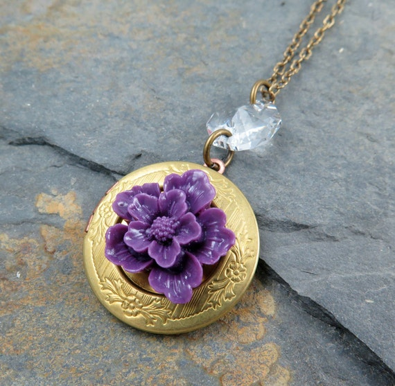 Purple Flower Locket Necklace Locket Pendant Vintage Locket Engraved Locket Round Locket Amethyst Flower Mothers Day