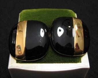 MINT Vintage Monet Square Oval Gold Plated Black Enameled Pierced Earrings