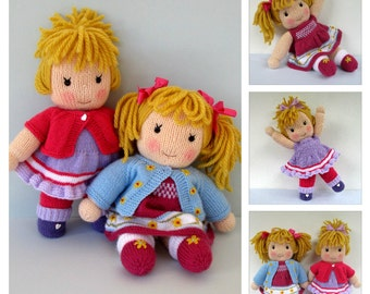 Jasmine and Violet doll knitting pattern - INSTANT DOWNLOAD