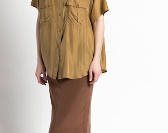 Vintage Gold Washed Silk Oversized Shirt with Pockets   L