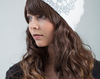 beanie with hand printed lace pattern
