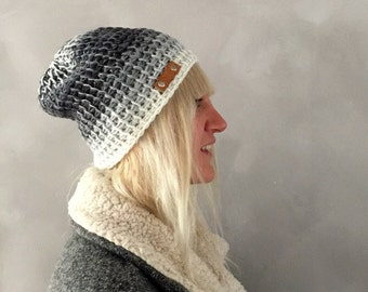 Grey Beanie, Ombre Grey White Mens Crochet Beanie Womens Winter Hat, Womens Gift, Christmas Gift, Fashion Accessories, Gift for her, for him