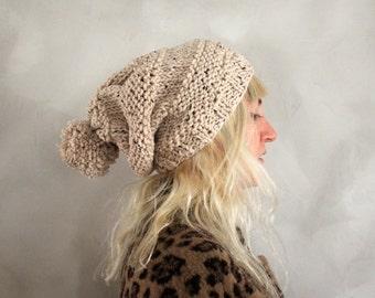 Slouchy Pom Pom Beanie / Womens Gift / Pom Pom Beanie / Slouchy Beanie / Womens Knit Hat / Gift for Her / Chunky Knit Hat  / Oatmeal Beanie