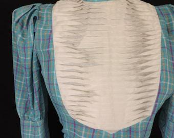 vintage pleated bib blouse 70s turquoise plaid barb stranger things top medium