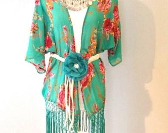 Teal Coachella Stevie Nicks style Kimono by Gina Louise