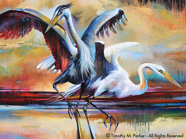 Abstract Bird Art Contemporary Egret Painting Reproduction