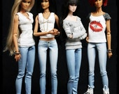 "The Ultimate Skinny Jeans 'Midday' LIGHT BLUE for 12"" Fashion Royalty Dolls - Denim Pants"