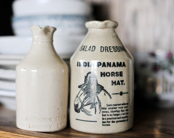Ironstone Bottles, Pridge's Inks London NE Ironstone Bottle, Panama Horse Hat Ironstone Salad Dressing Bottle Made in England