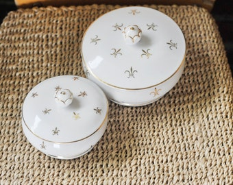 Trinket Containers, White Porcelain Gold Fleur-de-lis Ceramic Bathroom Lidded Trinket Box, Vanity Organizers, White and Gold Porcelain Jar