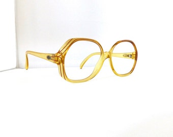 SOLD in store-05/14/16Christian Dior Eyeglasses //'80's// Translucent Yellow with Red Detail Frames //Made in Germany // #M102 DIVINE