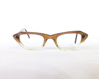 50's Marine Brand Cat Eye Eyeglasses Frames Women's Vintage 1950s Two Tone Taupe & Translucent Frames  #M6