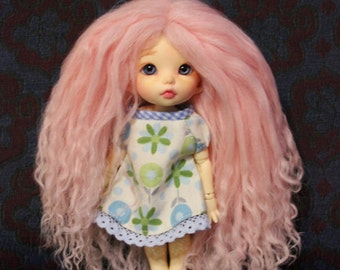 Sweet Cotton Candy Pink mohair wig for Pukifee / Lati Yellow / other small doll