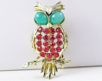 Vintage Red Rhinestone Owl Brooch Pin (B-1-2)