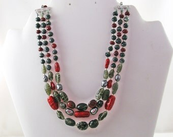 Vintage Japan Red and Gray Glass Triple Strand Necklace (N-4-1)