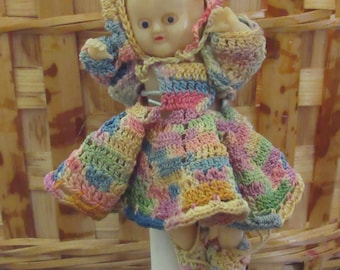 Wonderfully Creepy Miniature Doll with Handmade Micro-Crochet Outfit