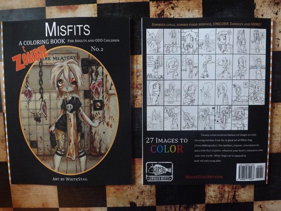 ZOMBIE Adult Coloring Book Misfits Fantasy Lowbrow Art Big Eye