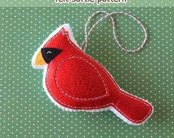 PDF Pattern - Little Cardinal Pattern, Kawaii Felt Ornament Pattern, Felt Softie Sewing Pattern, Felt Bird Pattern