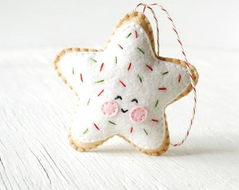 PDF patroon - suiker Cookie Star, Kawaii Christmas Ornament patroon, voelde Softie naaien patroon, voelde Ornament patroon