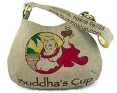 MTO. Custom. Buddha Burlap Hobo Handbag. Repurposed Buddha's Cup Kona Coffee Bag. Handmade in Hawaii.