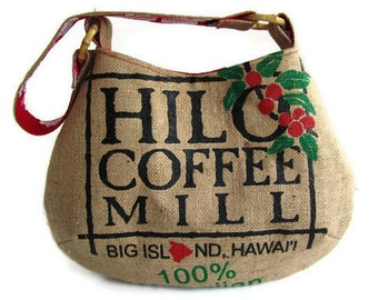 MTO. Custom. Hilo Coffee Mill Tote. Repurposed Burlap Coffee Bag. Big Island. Handmade in Hawaii.