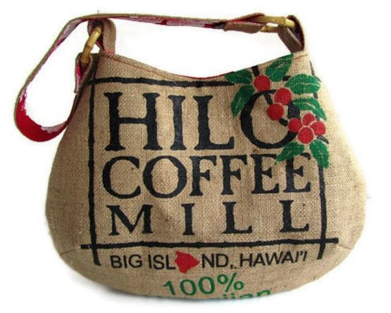 MTO. Custom. Hilo Coffee Mill Tote. Repurposed Burlap Coffee Bag. Big Island. Handmade in Hawaii.