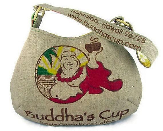 MTO. Custom. Buddha Burlap Hobo Handbag. Repurposed Buddha's Cup Kona Coffee Bag. Handmade in Hawaii.