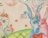 Rabbit Love Valentine Postcard